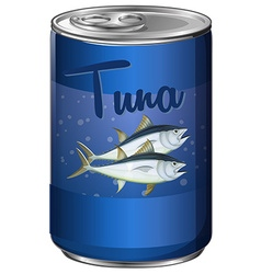 Canned food with tuna inside vector