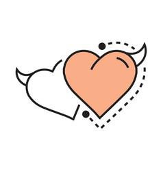 Twins line icon style heart devil design vector