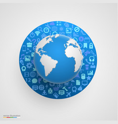world globe with app icons vector image