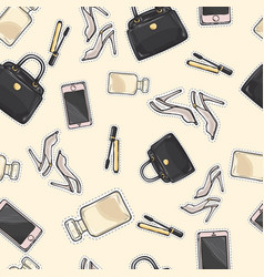 set of accessories purse mascara perfume shoes vector image