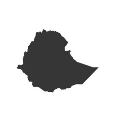 Ethiopia map silhouette vector