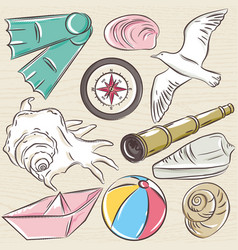 Set of summer symbols boat seashell compass vector