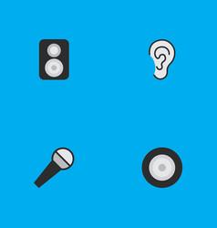 Set of simple icons elements loudspeaker listen vector