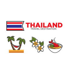 Thailand food and rest activities vector