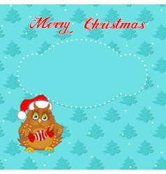 Christmas card with owl vector
