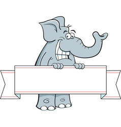 Cartoon elephant holding a banner sign vector