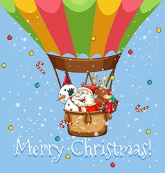 Christmas poster with santa on balloon vector