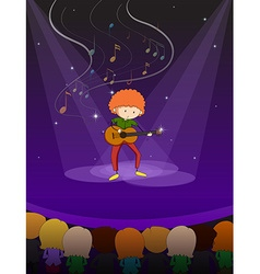 Man playing guitar on stage vector