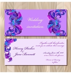 Peacock feathers wedding invitation card vector