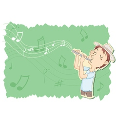 Playing flute vector