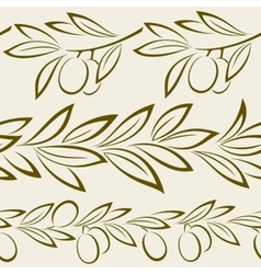 Seamless olive branch with berries vector