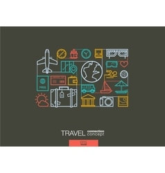 Travel integrated thin line symbols modern linear vector
