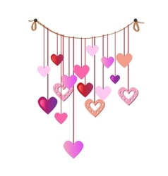 Holiday garland with colorful paper hearts vector image