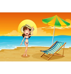 A beach with a girl vector image vector image