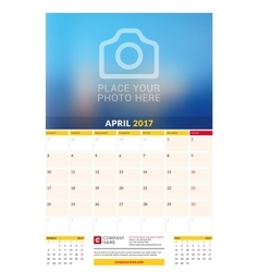 April 2017 Wall Monthly Calendar for 2017 Year vector image