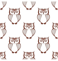 Brown owls silhouette seamless pattern vector