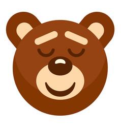 Brown teddy bear head icon isolated vector