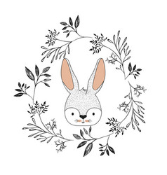 bunny face in decorative frame of branches in vector image