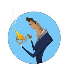 Cartoon businessman with magic vector