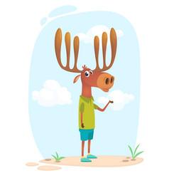 Cartoon funny cool elk moose vector