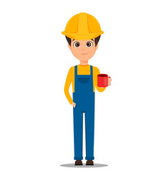 Constructor worker handsome builder holding cup vector