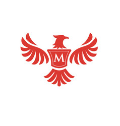 elegant phoenix with letter m logo vector image vector image
