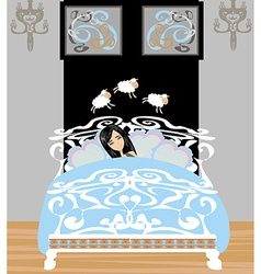 Girl counting sheep to fall asleep vector