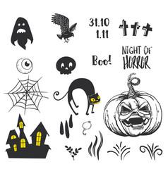 halloween party decor elements vector image