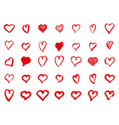 hand-painted ink with hearts vector image vector image