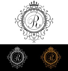 Letter r luxury logo template flourishes vector