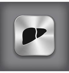 Liver icon - metal app button vector