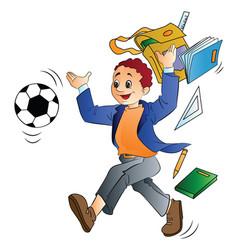 man throwing school things vector image vector image
