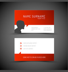 Modern simple red business card template with vector