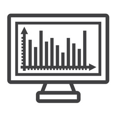 monitor chart line icon business and graph vector image