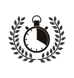 monochrome timer award between olive branch vector image