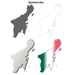 Quintana roo blank outline map set vector