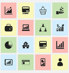 Set of 16 editable analytics icons includes vector