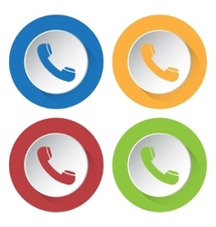 set of four icons - telephone handset vector image vector image
