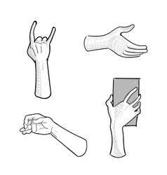 Set of hand gestures on white background vector image
