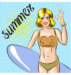 Surfer girl beautiful woman standing on the beach vector