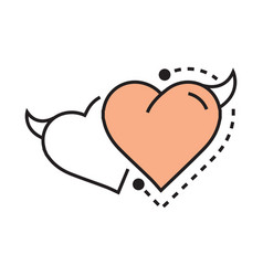 Twins line icon style heart devil design vector