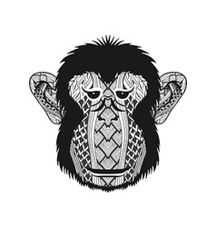 Zentangle stylized head monkey face hand drawn vector