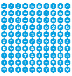 100 eco icons set blue vector