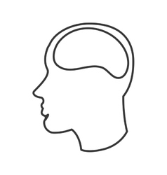 Human brain in head icon vector