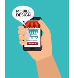 store shop online mobile design vector image