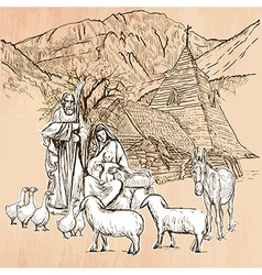 Holy family - an hand drawn line art vector