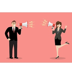 Businessman and woman are shouting on each other vector
