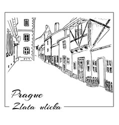 Prague hand drawn sketch zlata ulicka - vector