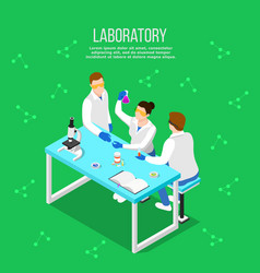 Pharmaceutical laboratory isometric composition vector