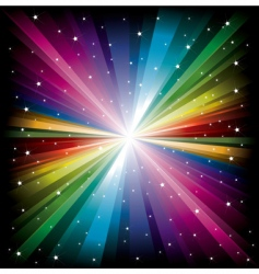 Rainbow light with white stars vector
